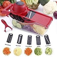 Mandolin Slicer - Vegetable Slicer Cutter Julienne Slicer, 6 in 1 Multi-function Food Slicer with 6 Interchangeable Sharp Blades, Safety Hand Guard and Peeler