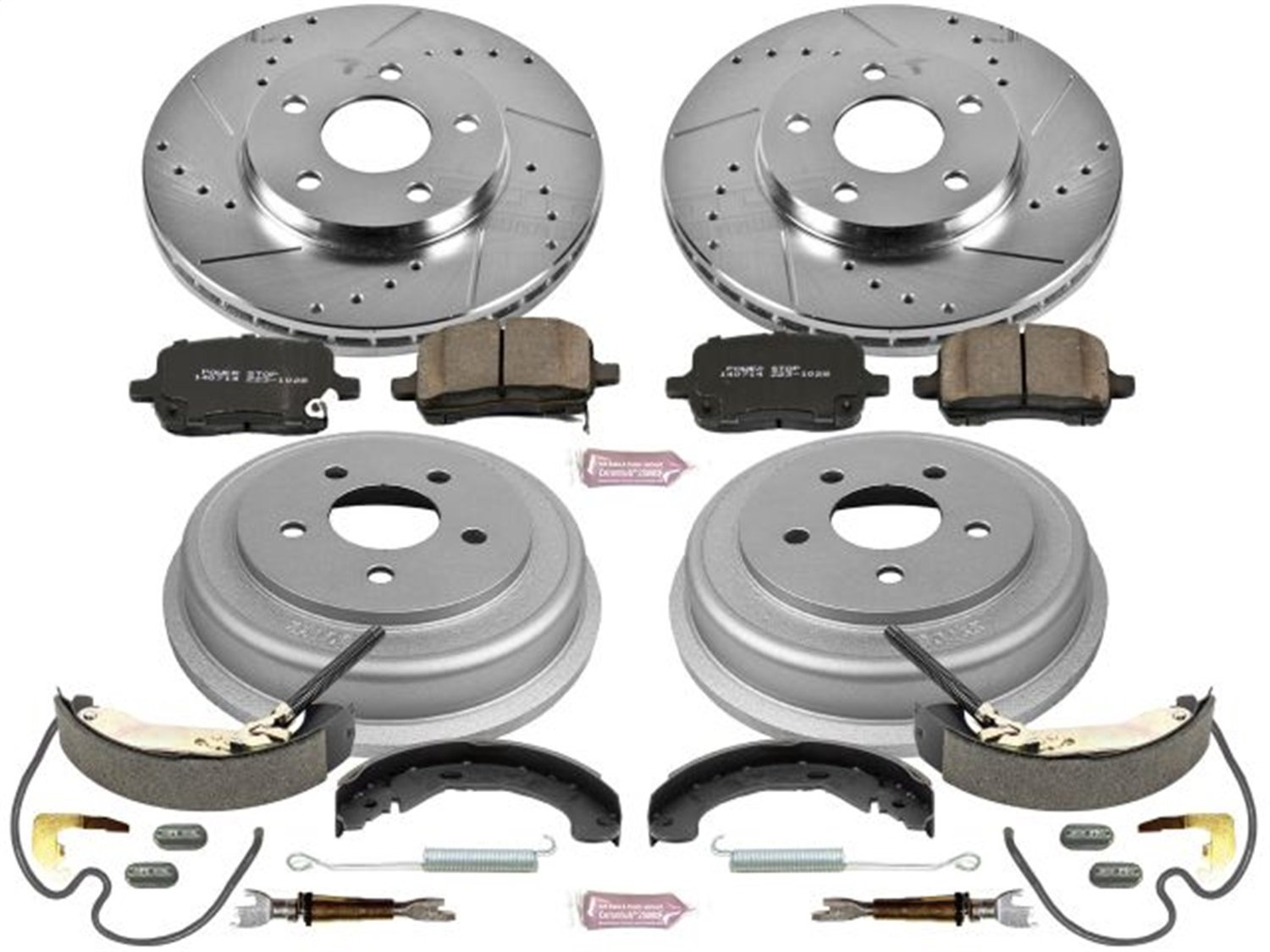 Power Stop Front /& Rear K15239DK Performance Pad Rotor Drum and Shoe Kits