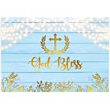 15x10ft God Bless Cross Infant Baptism Photography Backdrop Baby Shower Christening Beautiful Floral Parttern White Blue Stripes Background Cloth Photo Studio Props
