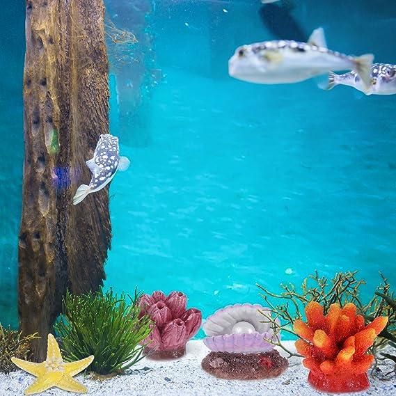 UEETEK Decoración para Acuario, Decoración para pecera, Adornos de Acuario de plástico, Colorido Peces, Coral, arrecifes, 4 Unidades: Amazon.es: Productos ...