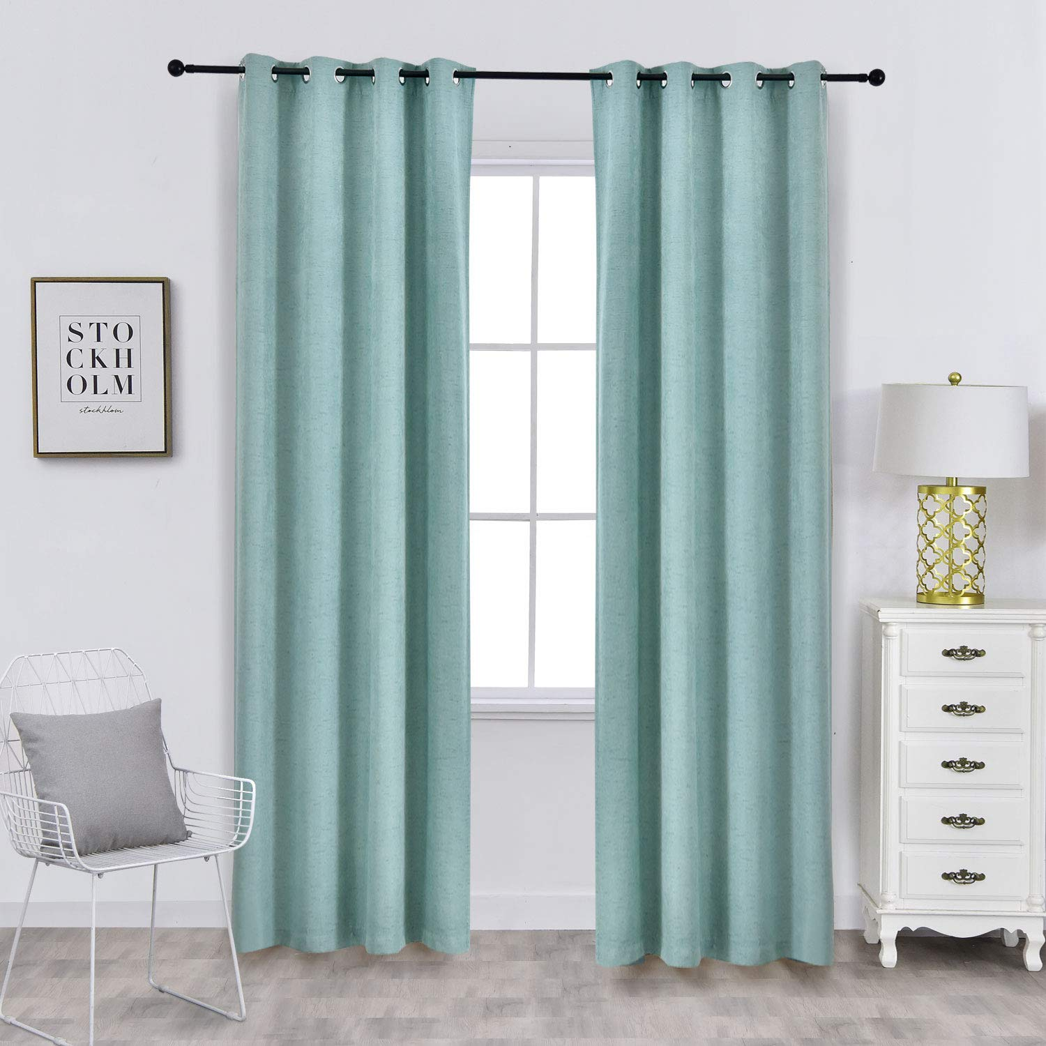 ALLBRIGHT Faux Linen Grommet Room Drakening Curtains Thermal Insulated Curtains for Living Room with Meteor Texture (2 Panels, 52 x 84 inches, Light Tiffany Blue)