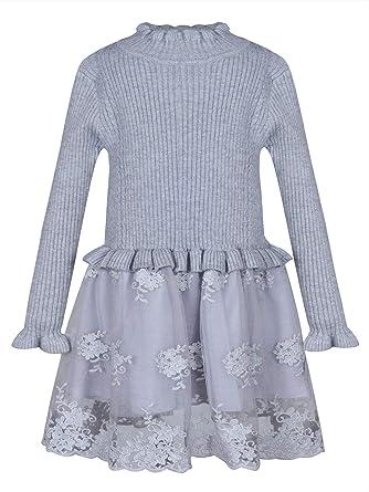 BONNY BILLY Vestiti Bambina Cerimonia Eleganti Pizzo Manica Lunga Abiti Invernali 3-11 Anni