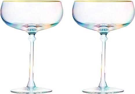 Root7 Rainbow Martini Cocktail Glass 9oz Perfect Martini Gift Set of 2 Tinted Borosilicate Glasses
