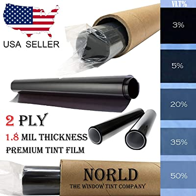 Norld 2 PLY 1.8 mil 5% 24 in x 10 Ft Adhesive Window Tint Film Uncut Roll: Automotive