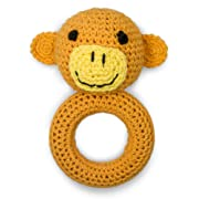 Cute New York Pure Cotton Knit Animal Rattle for Baby Boy or Girl/ (Monkey)