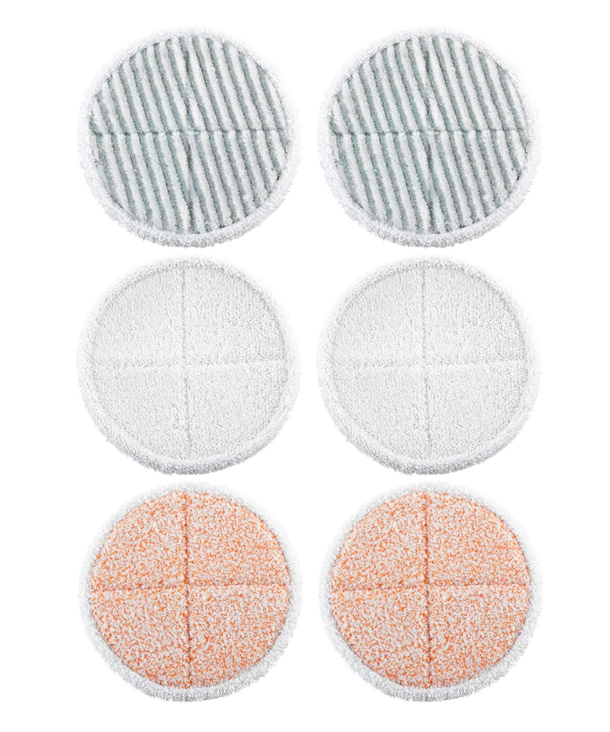 Mop Replacement Pads for Bissell Spinwave 2039A 2124 Powered Hard Floor Mop (2 Soft Pads+2 Scrubby Pads+2 Heavy Scrub Pads)
