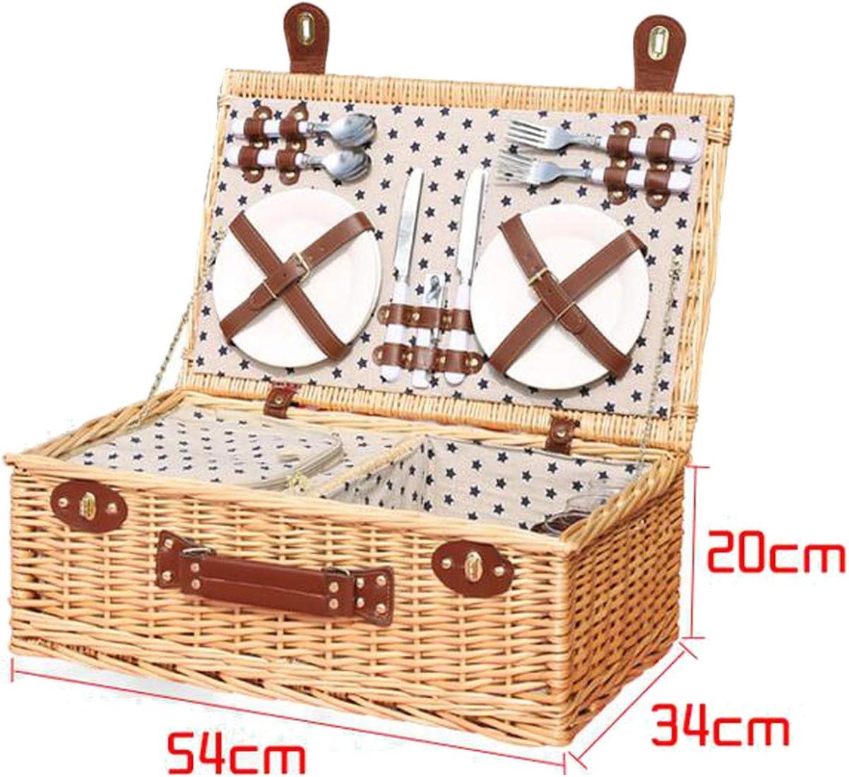 枝編み細工品ピクニックバスケット断熱パッケージ杖カバーピクニックキャンプ用品4 Dis、Fy1で屋外のピクニックバスケット手