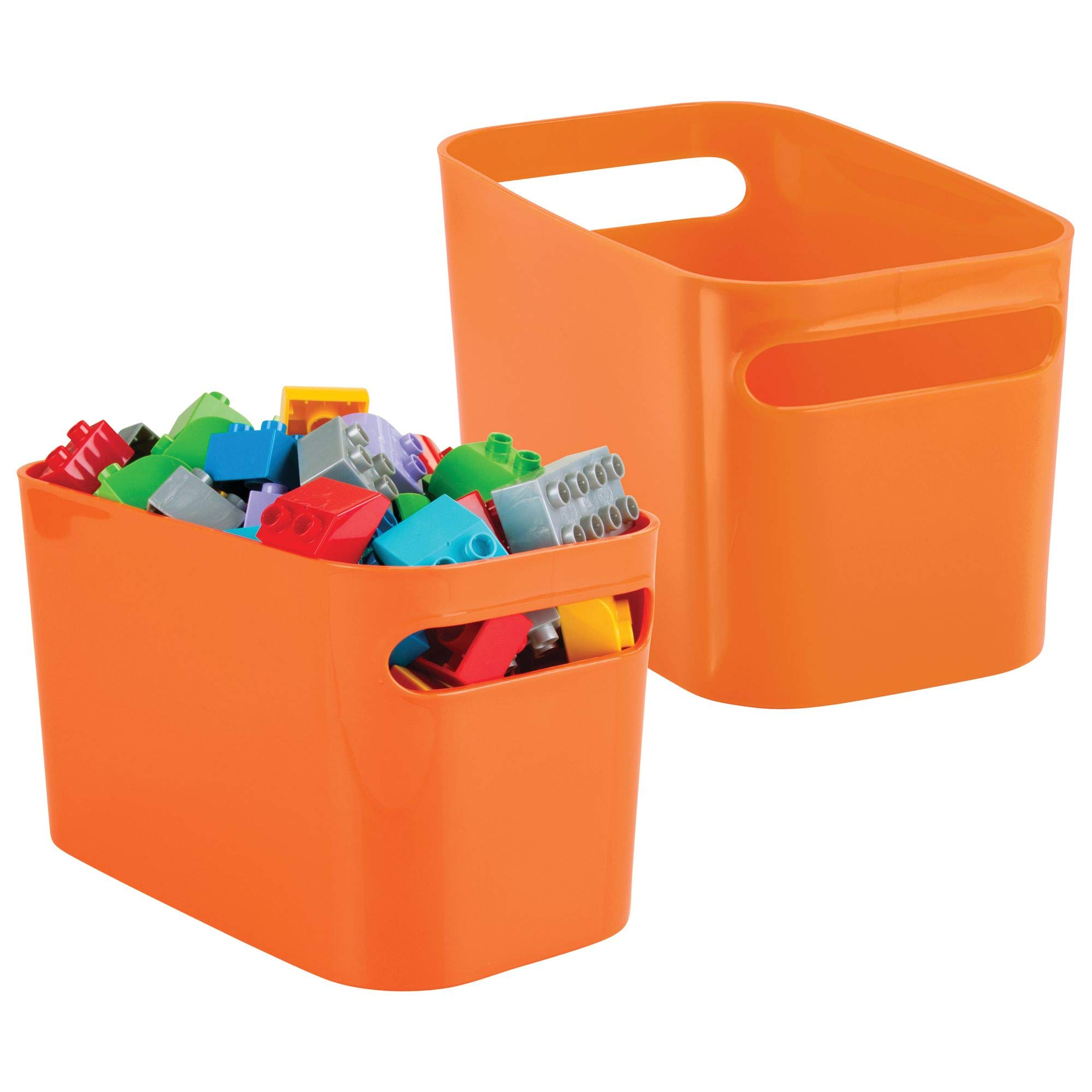 mDesign Kids/Baby Toy Storage Bin for Dolls, Modeling Clay, Blocks, Cars - Pack of 2, Orange