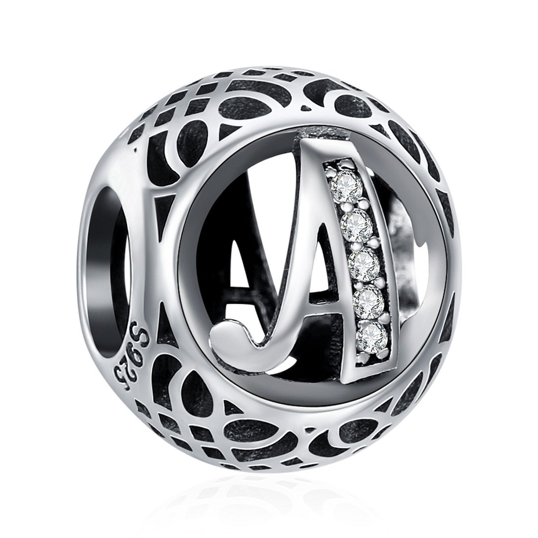 925 Sterling Silver Alphabet Letter A Charms Initial Cubic Zirconia Charms Beads Bracelets Necklaces