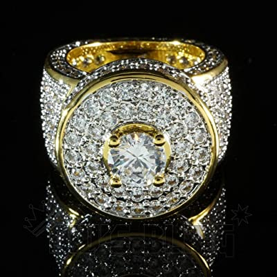 Fashion Jewelry Men 18k Gold Plated Signet Band HipHop Micropave CZ Crystal Ring