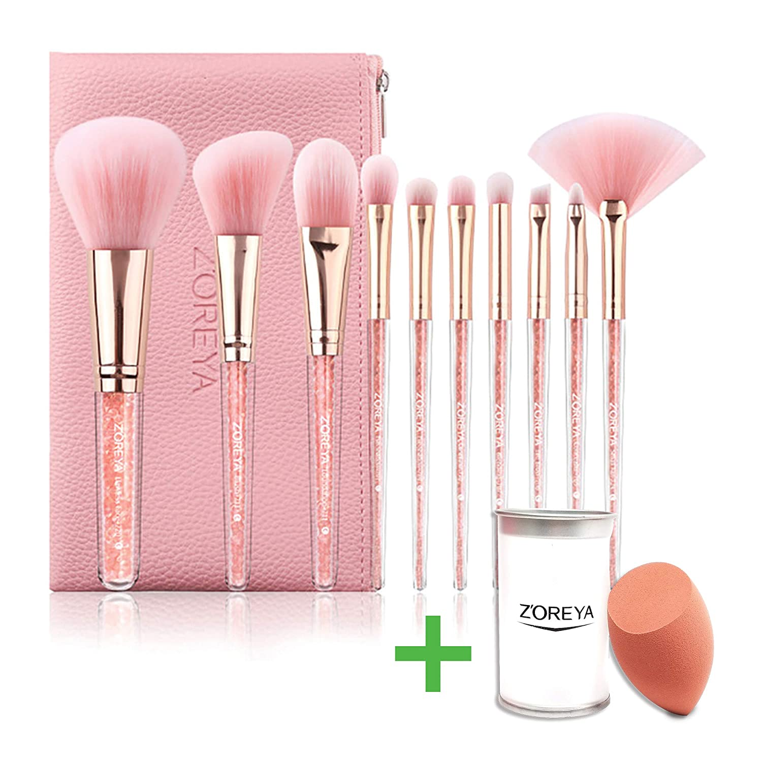 Highend Makeup Brushes Crystal Handle Makeup Brush Set 10pcs Best Make up tools Women, Teens, Beginners, Professional Make up Artist with Free Makeup Sponge Beauty Blender Gift Set Bundle Best Gift