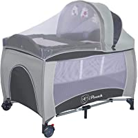 New All in 1 Deluxe Baby Portable Travel Cot Portacot Playpen Crib Bed Bassinet (Grey)
