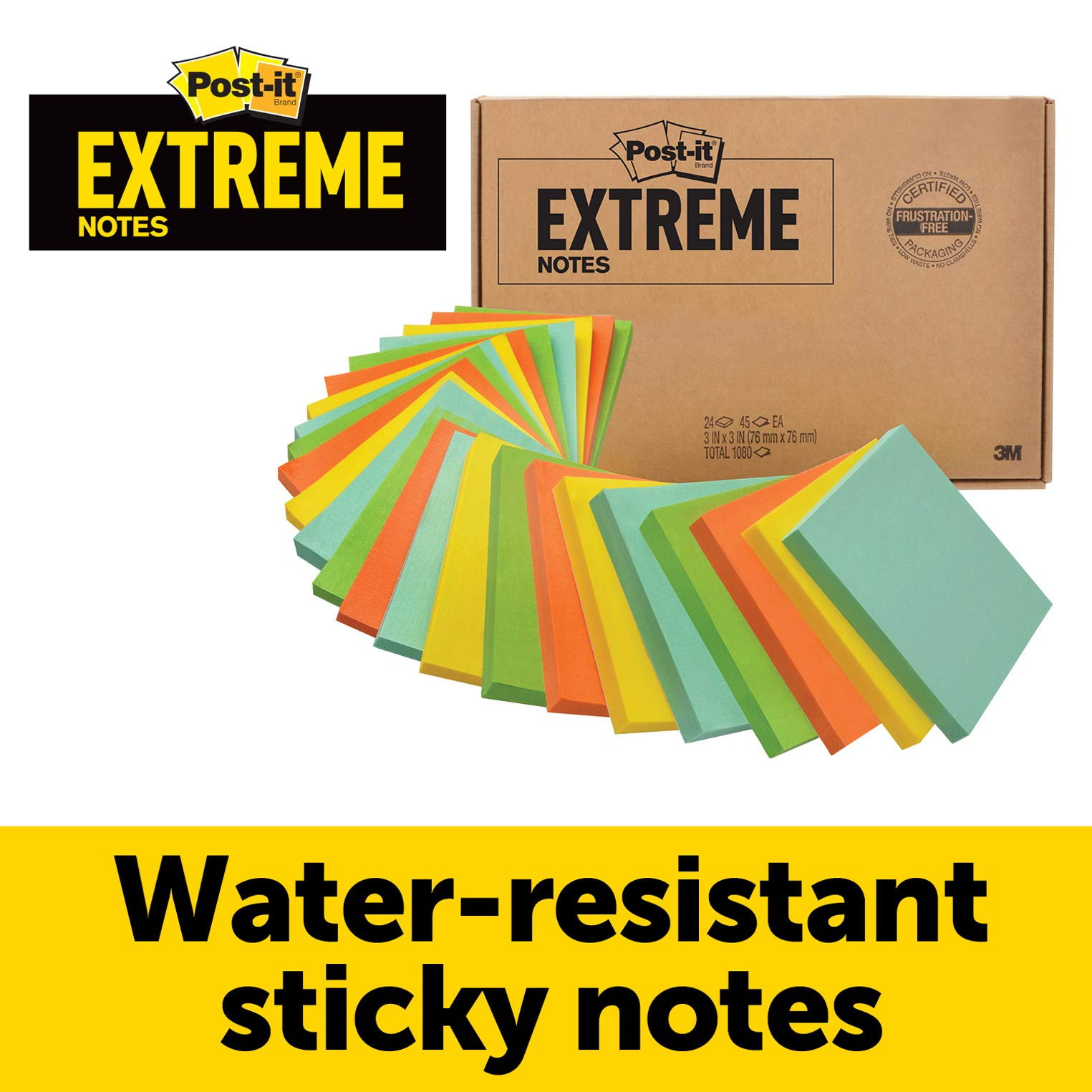 Post-it Extreme Notes, Works outdoors, Works in 0 - 120 degrees Fahrenheit, Sticks where other notes can't, Green, Orange, Mint, Yellow, 3 in x 3 in, 24 Pads/Pack, 45 Sheets/Pad by Post-it