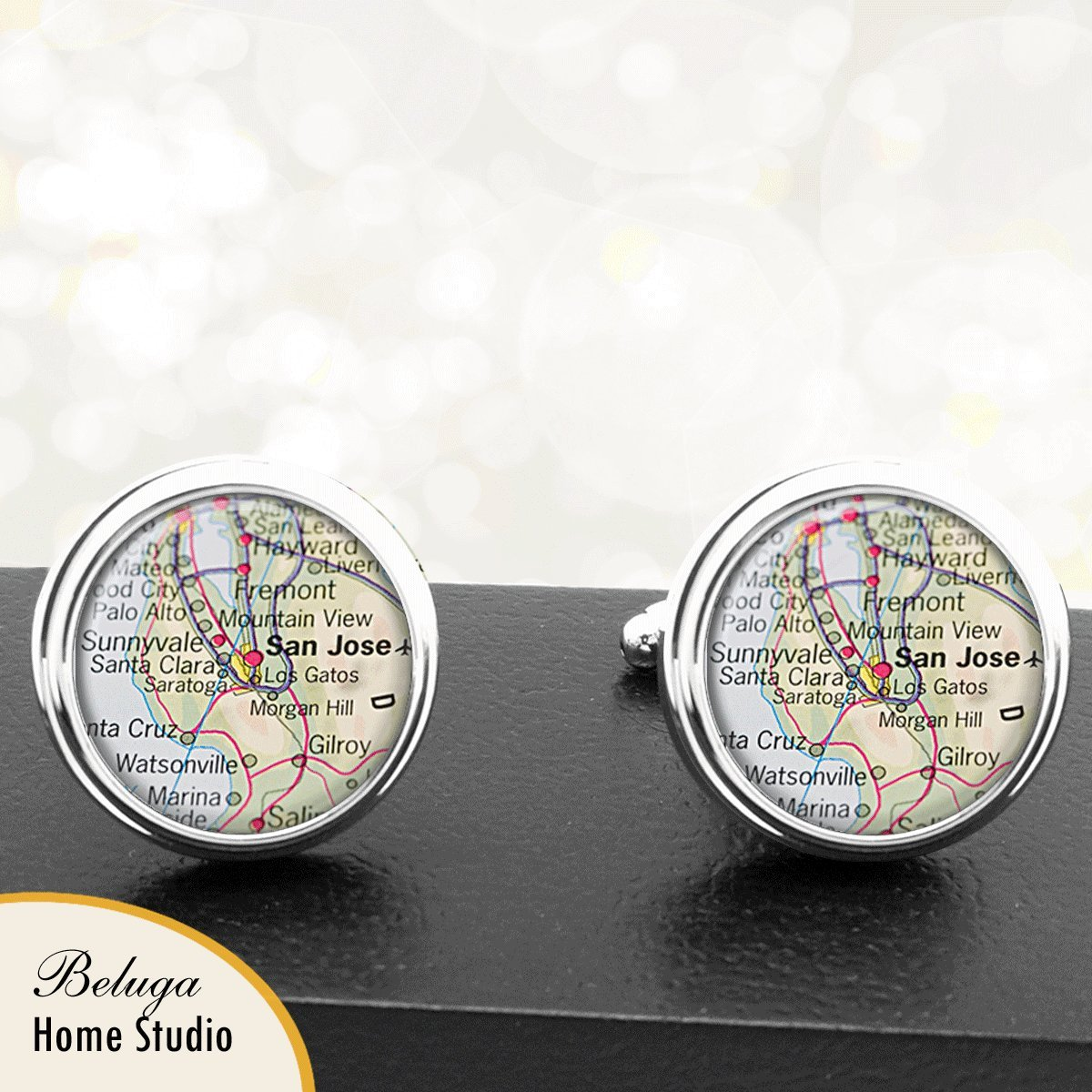Amazon.com: Handmade Map Cuff Links San Jose CA USA City Cuff Links State of California: Handmade
