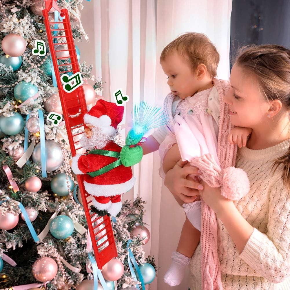Allnice Climbing Ladder Santa with Jingle Bells Music Christmas Decorations Christmas Tree Ornament Ladder-Climbing Santa Claus