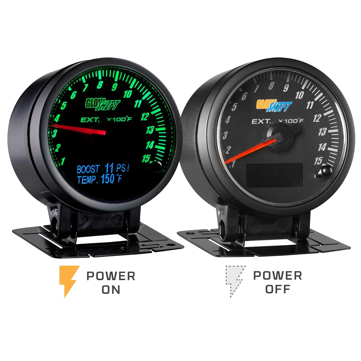 GlowShift 3in1 Analog 1500 F Pyrometer Exhaust Gas Temp EGT Gauge Kit with Digital 60 PSI Boost & 300 F Temperature Readings - 10 Selectable LED Colors - Black Dial - Clear Lens - 2-3/8'' 60mm by GlowShift (Image #8)