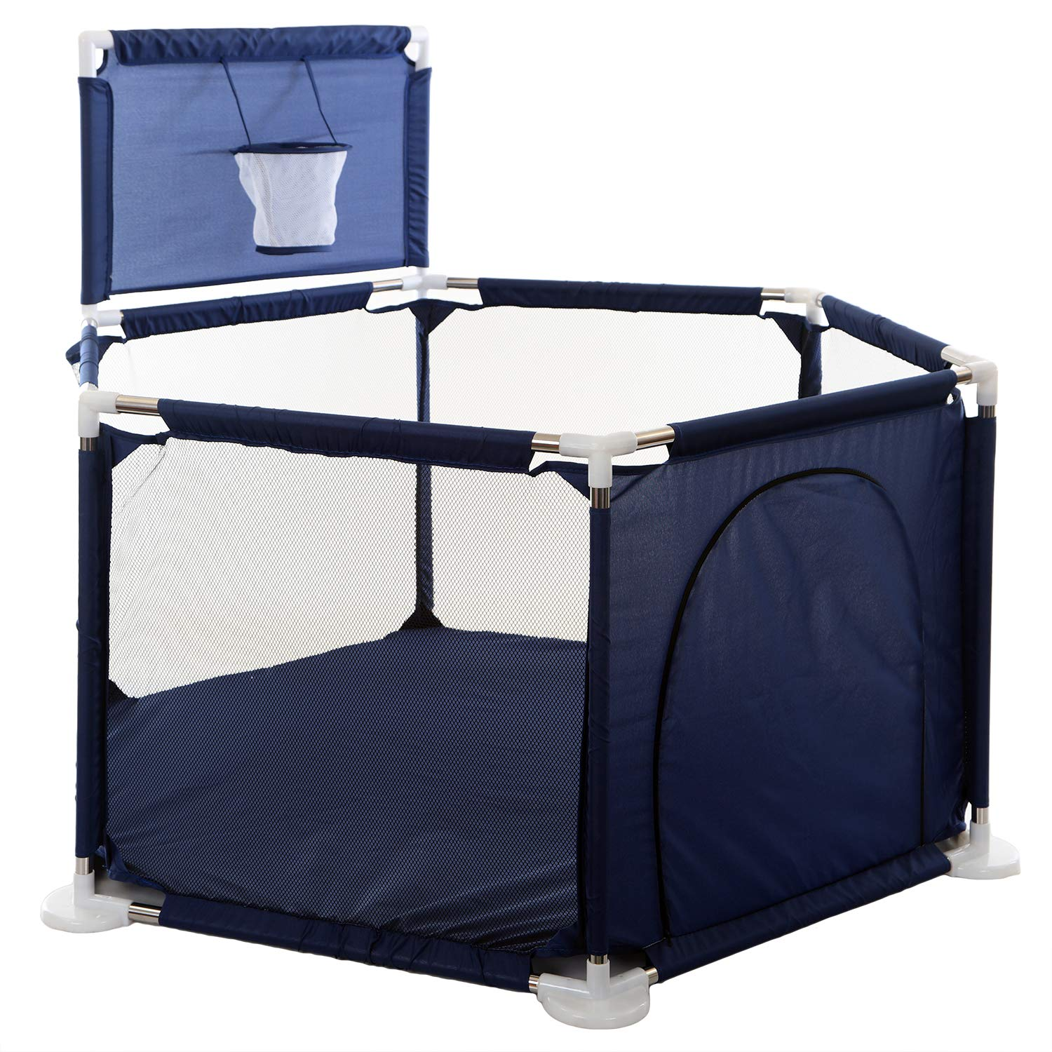 KINGBO Baby Play Yard / Ball Pits / Baby Playpen / Fence for Baby, 15 Sq.ft Play Space, 26.2 Inches Height, Portable, Two Color(Blue)