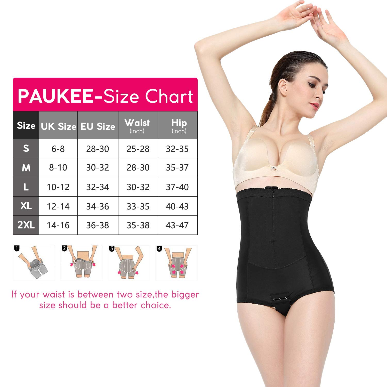 PAUKEE Postpartum C-Section Recovery Panty High Waist C-Panty Belly Wrap Medical Grade Compression Support Girdle Panties