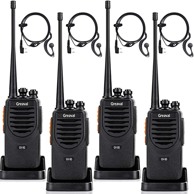 Greaval GV-9S Walkie Talkies Long Range for Adults Rechargeable 2 Way Radios 4 Pack with Earpiece + Li-ion Battery + USB Charing + Desktop Charger Walkie Talkie UHF 400-470Mhz (4Pack)