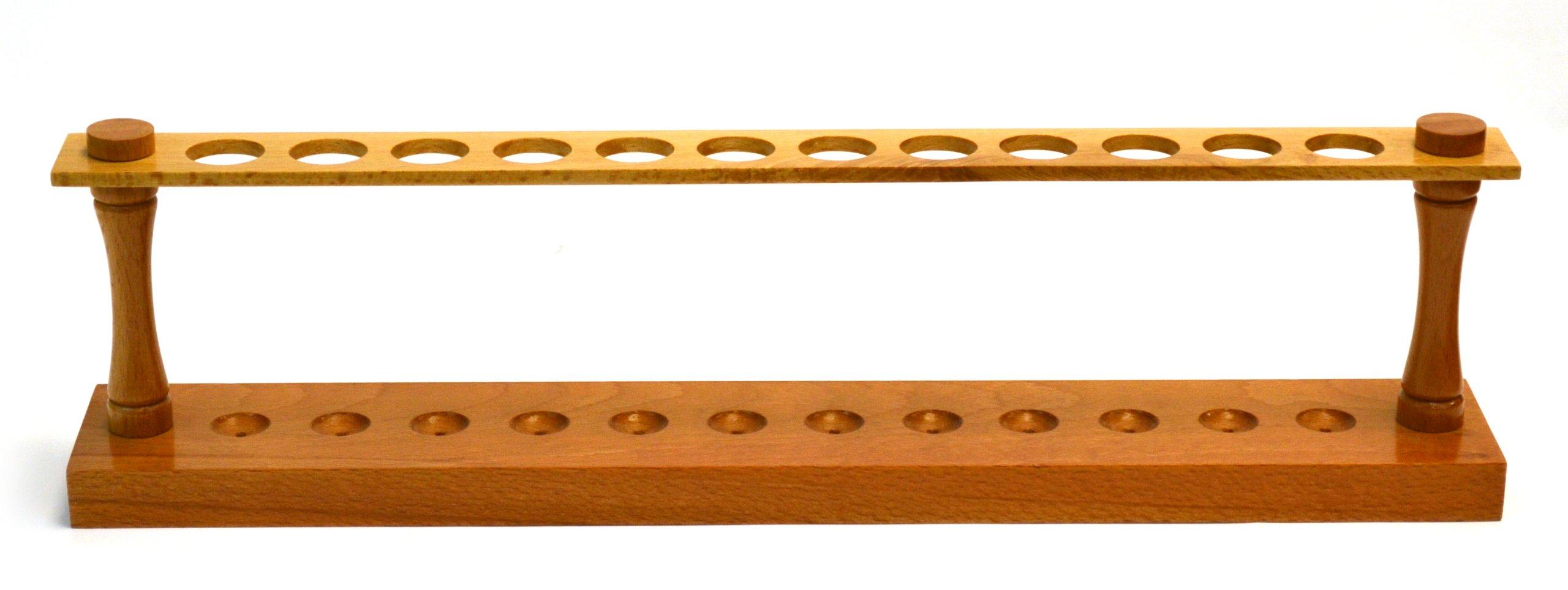 Eisco Labs Premium Wooden Test Tube Rack, (12) 22mm Holes, 16.75'' Long