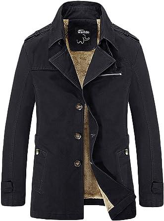 Wantdo cortavientos para hombre chaqueta de algodón gabardina ...