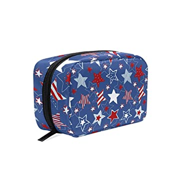 c84b95815797 Amazon.com : MAPOLO Patriotic Stars And Stripes Handy Cosmetic Pouch ...