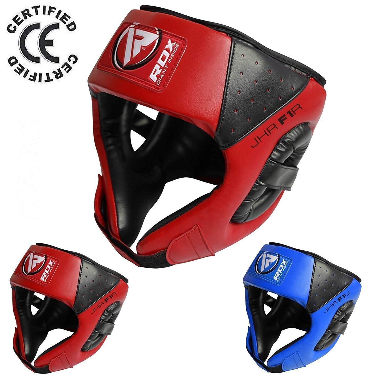RDX Cuero Niño Boxeo Cascos MMA Kickboxing Sparring Casco Protector Entrenamiento Lucha (CE Certificado Aprobado por SATRA)