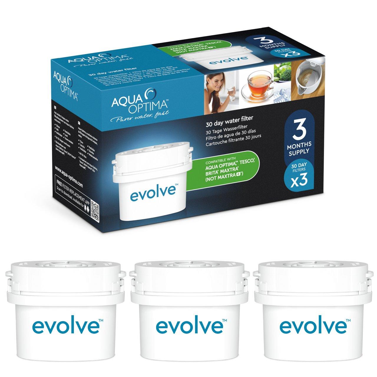 Aqua Optima Evolve confezione 3 mesi, 3 filtri per acqua x 30 giorni - adatto *BRITA Maxtra (non *Maxtra+) - EVS301 7159000_