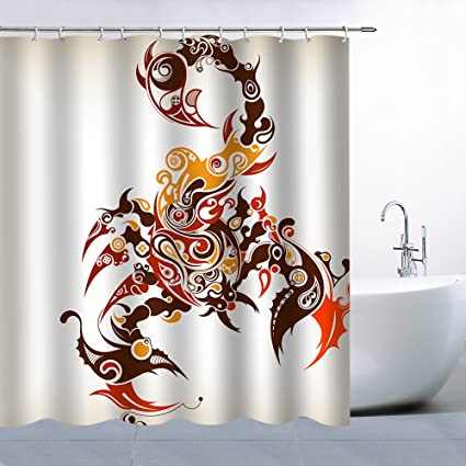 Qianliansheji Animal Shower Curtain Bathroom Accessories White Red Scorpion Is Very Simple And Beautiful Fashion Personality