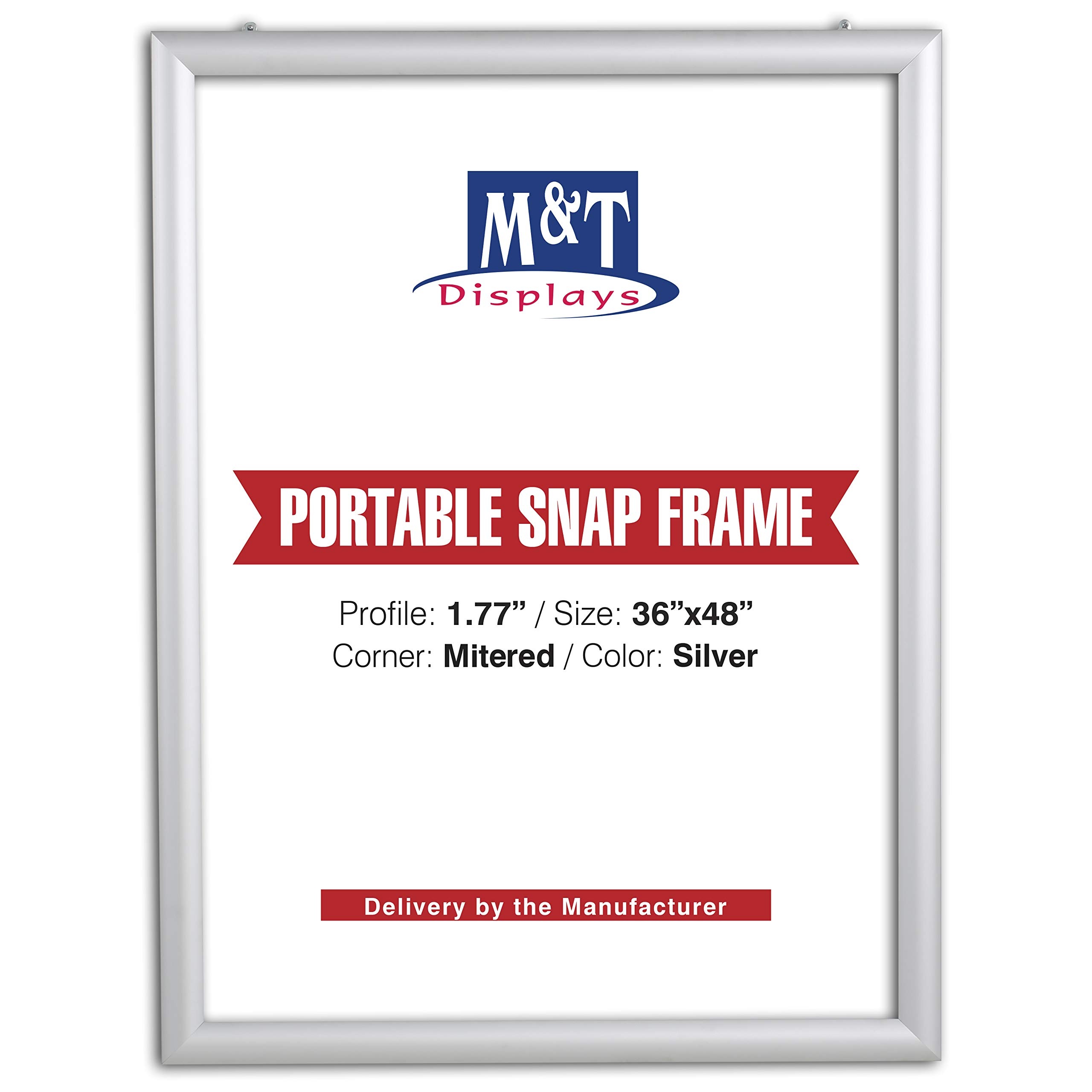 M&T Displays Portable Snap Frame, Poster Size, 1.77'' Profile with White Backing and Anti-Glare Pet Cover (36x48, Silver) by M&T Displays