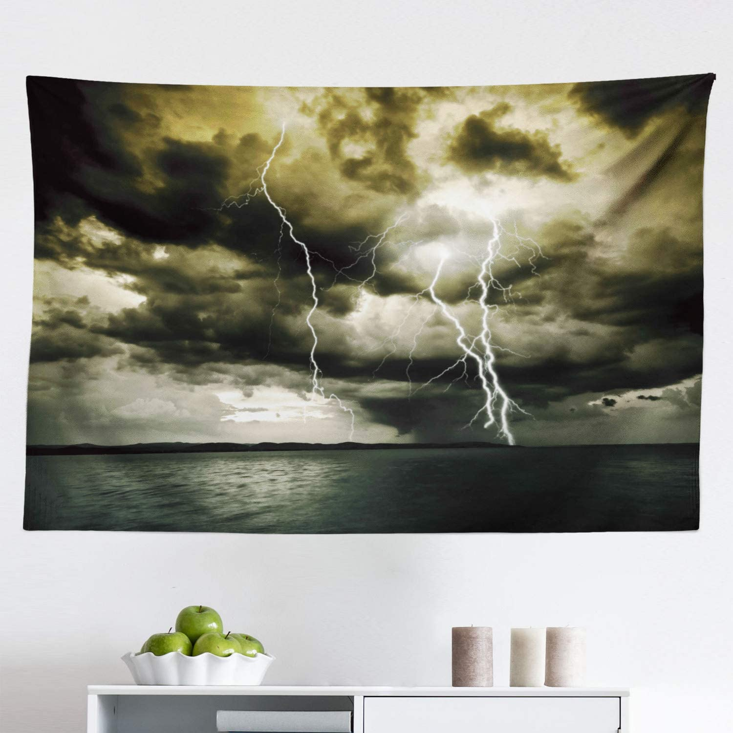 "Lunarable Nature Tapestry, Majestic Rain Cloud with a Thunderstorm All Over The Ocean Sea Dramatic Scenery, Fabric Wall Hanging Decor for Bedroom Living Room Dorm, 45"" X 30"", Grey Blue"