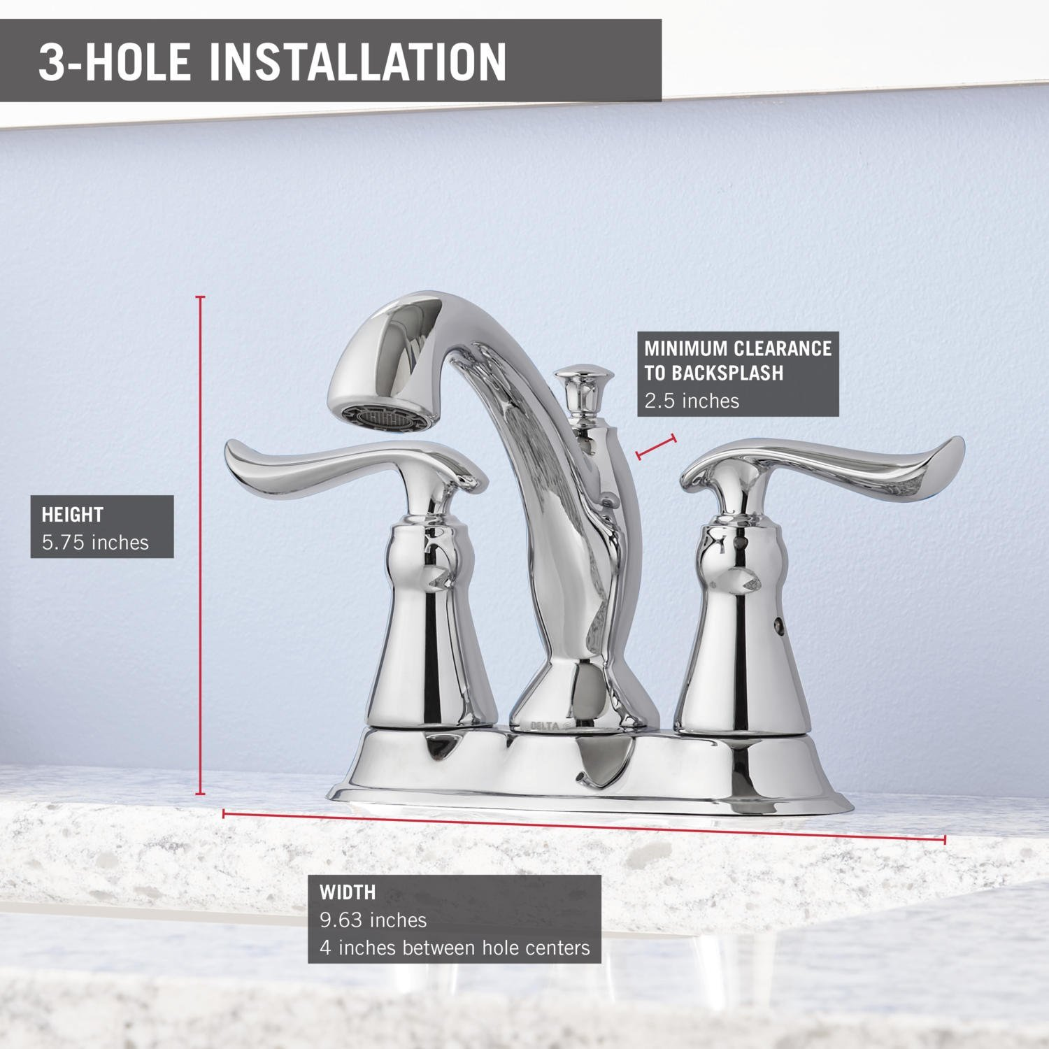 Delta Linden 2-Handle Centerset Bathroom Faucet with Diamond Seal Technology and Metal Drain Assembly, Chrome 2594-MPU-DST by DELTA FAUCET (Image #4)