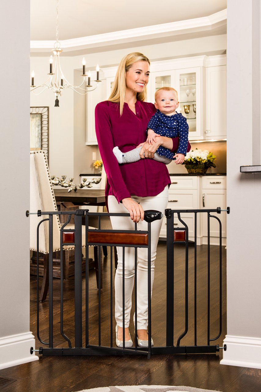 Regalo Home Accents 43-Inch Extra Wide Walk Thru Gate, Home Décor Hardwood and Steel by Regalo (Image #2)
