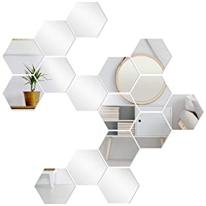 FVVMEED 20 Pieces Hexagon Mirror Wall Sticker Sets, DIY Geometric Removable Acrylic Mirror Wall Decal, 3D Wall Stickers, Personalized Art Hexagonal Mirror for Home Living Room Bedroom Decor, M