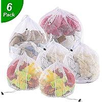 Drawstring Laundry Bags for Washing Machine, 6Pcs Laundry Net Washing Bag White Coarse Mesh Bags for Travel, Underwear, Baby Clothing, Bedding, Curtains, Shirts, Socks, 4 Sizes