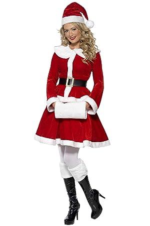 ad6c2257956a8 Smiffys, Damen Weihnachtsfrau Kostüm, Jacke, Rock, Mütze, Gürtel und Muff,  Größe: S, 36989