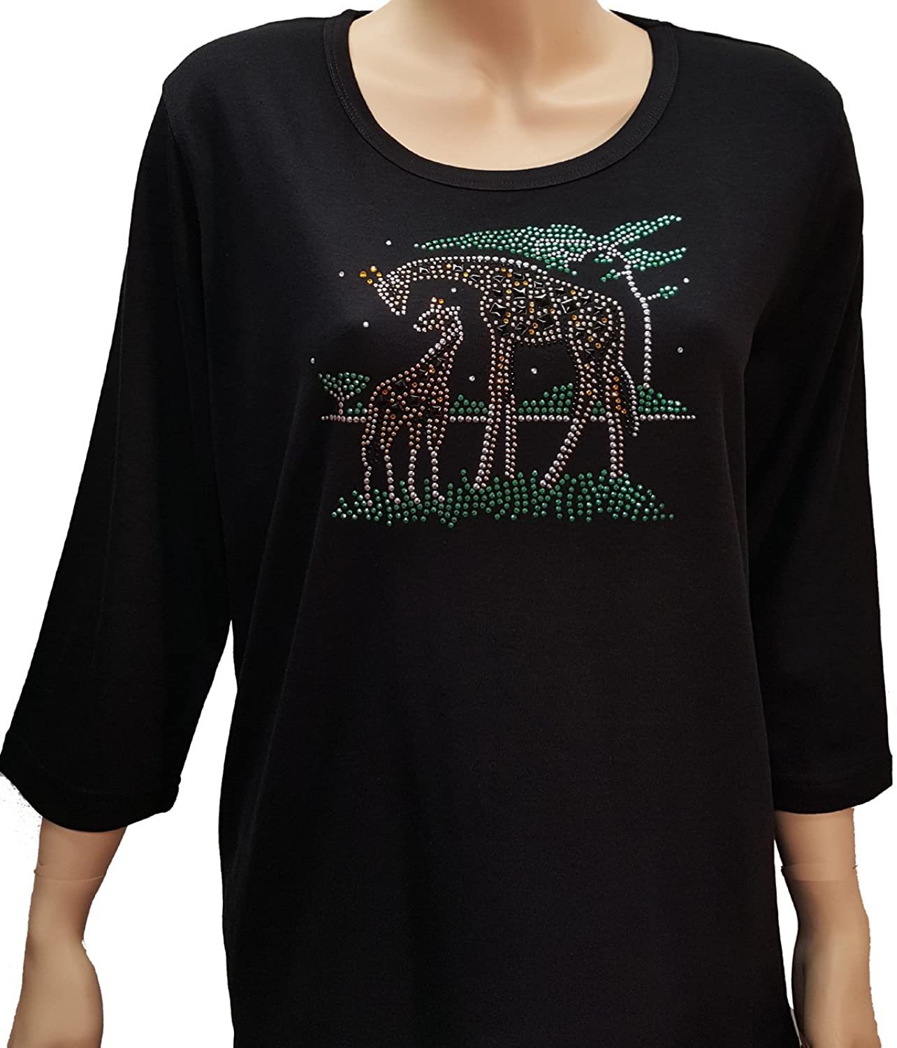 Giraffe Bling Rhinestone Black Shirt with Scoop Neck