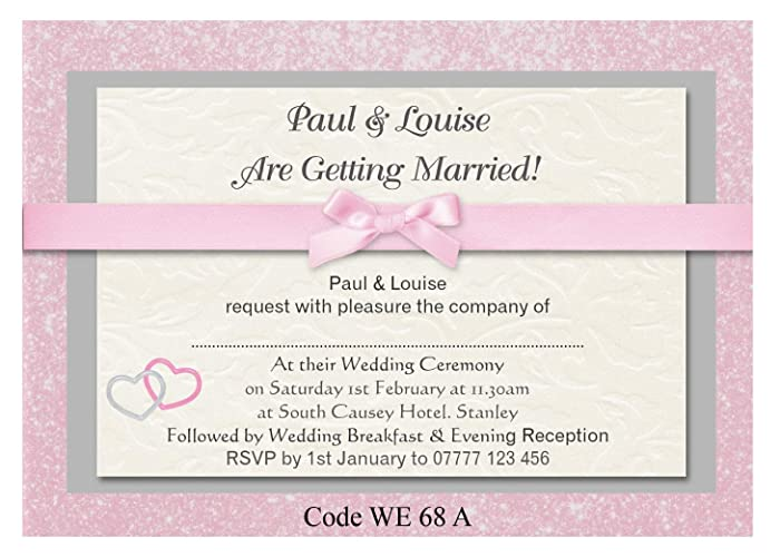 The Invite Factory Personalised Wedding Day Ceremony Or Wedding