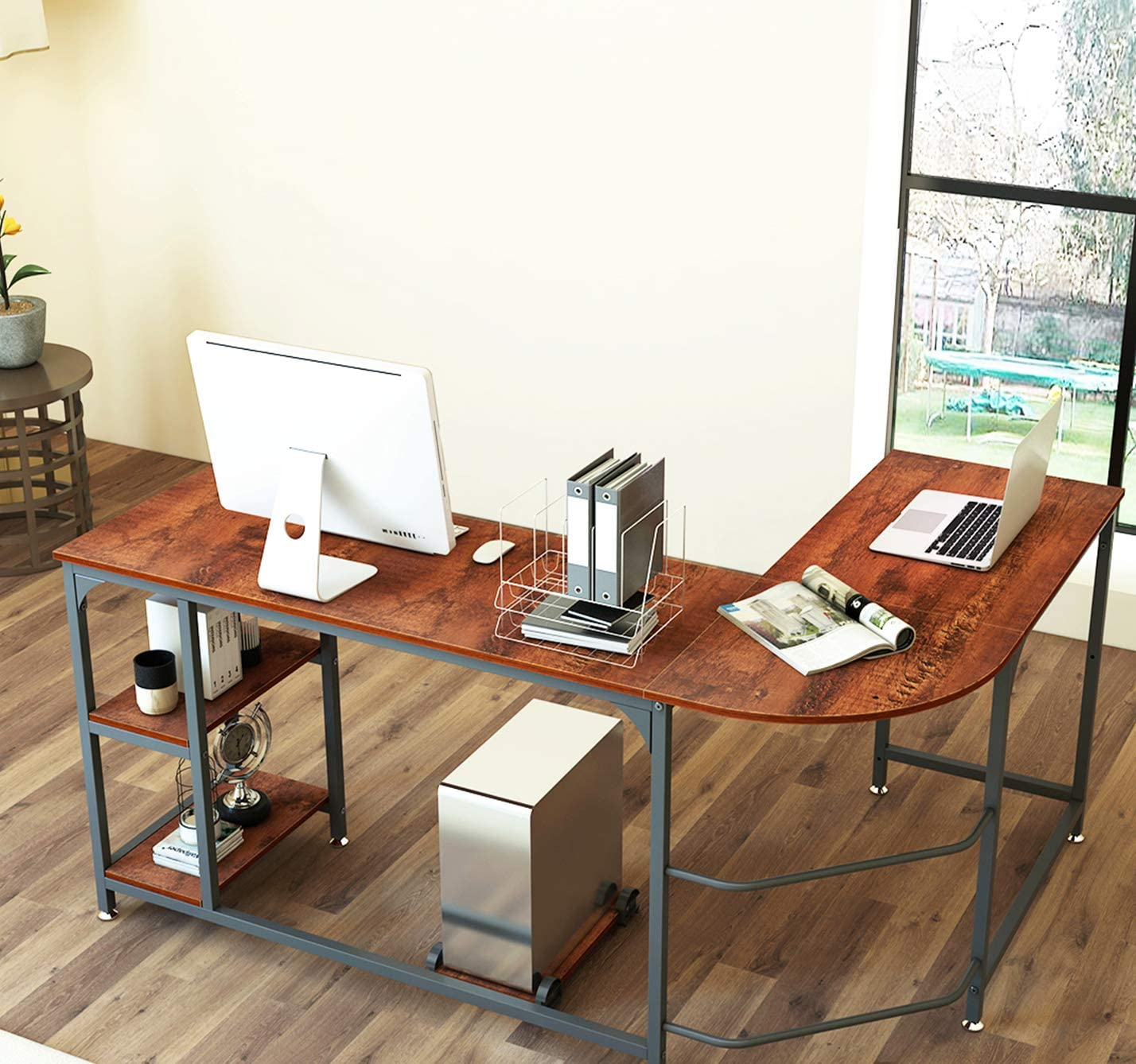Brilliant Modern L-Shaped Corner Computer Desk Office Table with Open Shelf