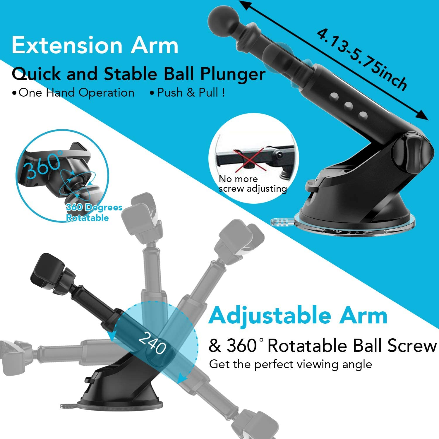 Phone Holder for Car APPS2Car Universal Strong Suction Cup Phone Mount Windshield /& Dashboard Cell Phone Car Mount with Expandable Spring-Load Grip Strong Hold Grip for Cell Phones