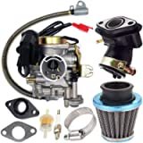 139QMB Carburetor for GY6 50CC 49CC 4 Stroke Scooter Taotao Engine 18mm carb+ Intake Manifold Air Filter - 50cc Carb,50…