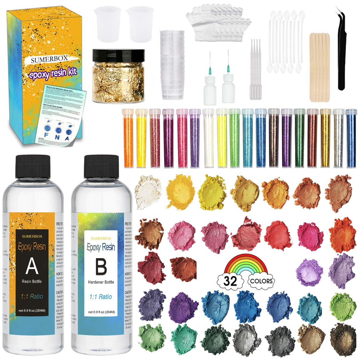 Clear-Cast-Epoxy-Resin-Kit, Cast Resin, Mica Powders, Measuring Cups, Tip Applicator Bottles, Gloves, Pipettes, Mixing Sticks, Clear Spoons