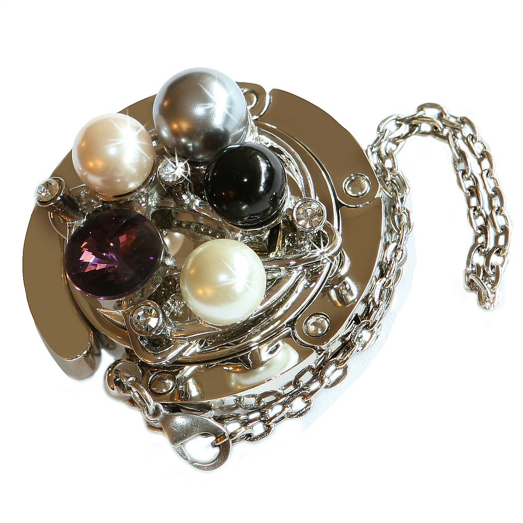 Small Goby Pearls Gems Folding Purse Hanger Table Bag Hook with FREE Gift Box