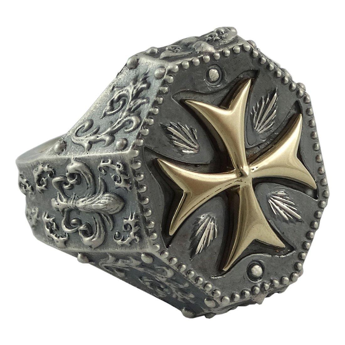 Knights Templar Maltese Cross Mens Ring Fleur De Lis Silver 925 and 10K Gold Masonic Jewelry
