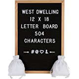 Black Felt Letter Board 12x18 Inch Wooden Oak Frame - 504 White Letters and Symbols - Wall Mount - Message Board Sign - 2 Storage Bags