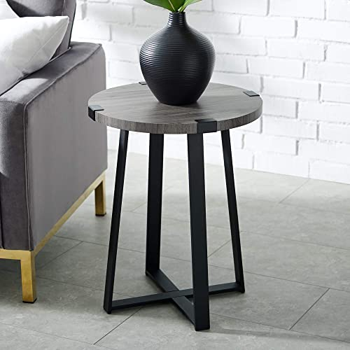 Walker Edison Furniture Company Rustic Farmhouse Round Metal and Wood Side Accent Living Room Small End Table, 18 Inch, Slate Grey