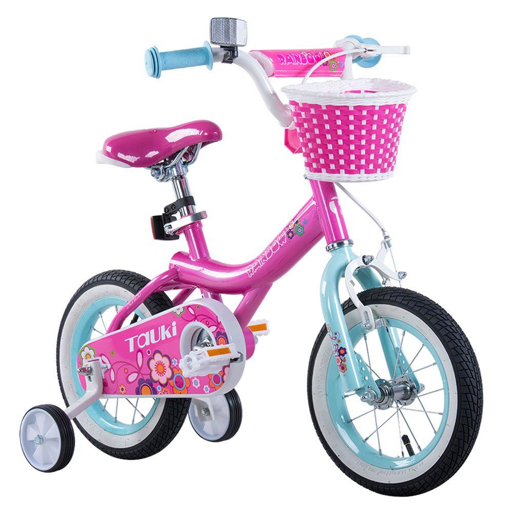 Tauki Girl's Bike with Training Wheels and Basket, Gift for Girls, 12-16 inch, White/Pink by Tauki