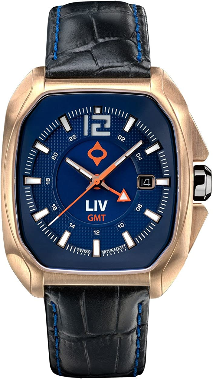 LIV Rebel-GMT Swiss Dual Time with 24 Hour Function – Analog Display Casual Rectangular Watch for Men – 300 feet Waterproof – Limited Edition to 1,500 – Cobalt Rose Gold