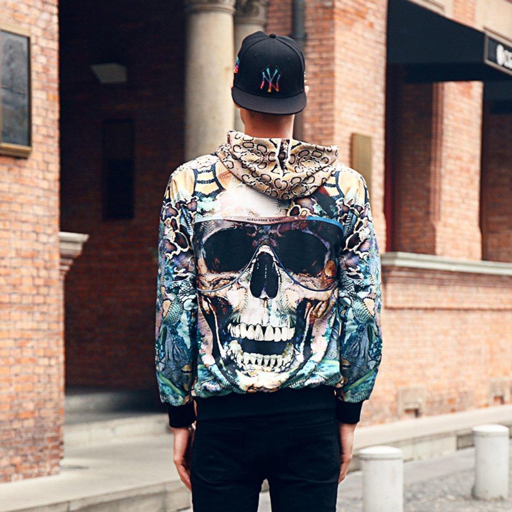 Wangs Mens 3D Printing Outwear Hooded Sweatshirt Autumn and Winter Leisure Hoodies
