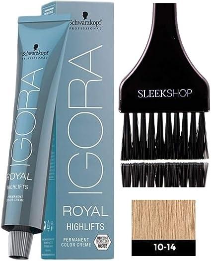 Schwarzkopf Igora Royal Highlifts permanente del pelo color crema (Con elegante Tinte cepillo del aplicador) Crema Color de pelo (10-14 Ultra Rubio ...